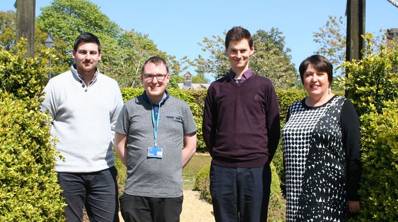 Ben Robins (far left) and Fraser Clark (centre left) from BDS with Alex McQuiston and Lesley Whyte
