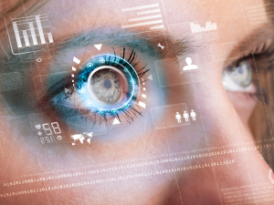 technology and data over woman's eye